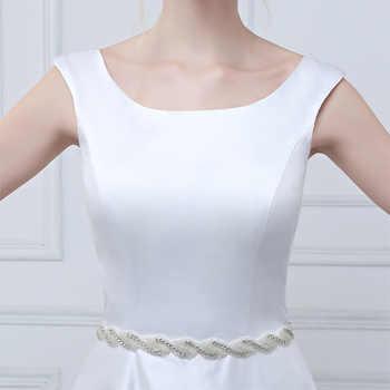 E JUE SHUNG Simple Luxury Wedding Dresses White Satin Crystals Sash Cap Sleeves 2018 Lace Up Back Bridal Gowns vestidos de novia