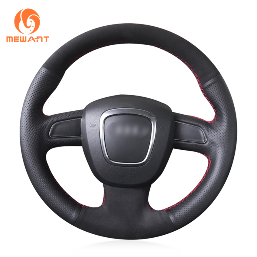 MEWANT Black Genuine Leather Steering Wheel Cover for Audi A3 (8P) 2008-2013 A4 (B8) 2008-2010 A5 2008-2010 A6 (C6) 2007-2011 цена