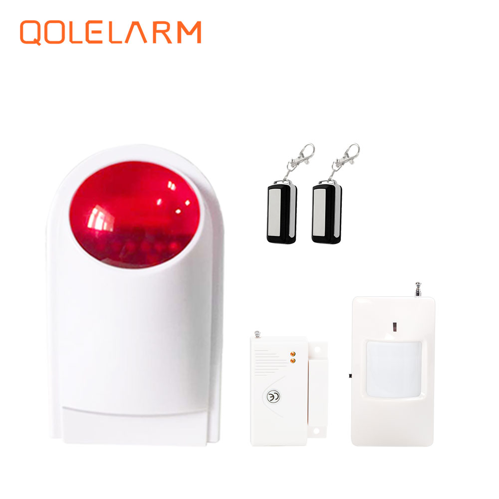 433mhz local spot 110db weatherproof Wireless Outdoor Strobe Siren Alarm Kit with flashing <font><b>light</b></font>