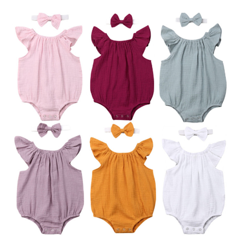 Newborn Toddler Baby Girls Rompers Princess Sleeveless Ruffles Romper Jumpsuit Headband Outfits Infant Baby Boys Cotton Clothes