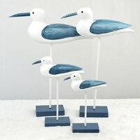 Mediterranean Style Home Decoration Ornaments Supplies Handmade Wooden Crafts Blue Seagull Bird Cabinet Decor Decoration 4Pieces