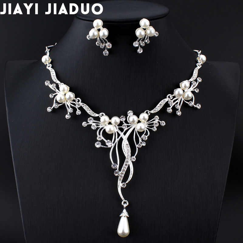Jiayijiaduo  Imitation Pearls Bridal Jewelry Sets for Women Silver Color Rhinestone Necklace Earring Sets Wedding Jewelry