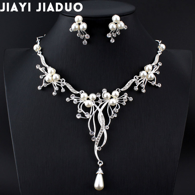 jiayijiaduo  2017 Imitation pearls Bridal Jewelry sets for Women Silver Color Rhinestone Necklace earring Sets Wedding Jewelry
