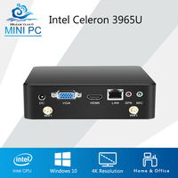 Celeron 3965U 4K Mini PC Fanless Windows 10 Mini Computer Desktop Intel HD Graphics 610 Barebone