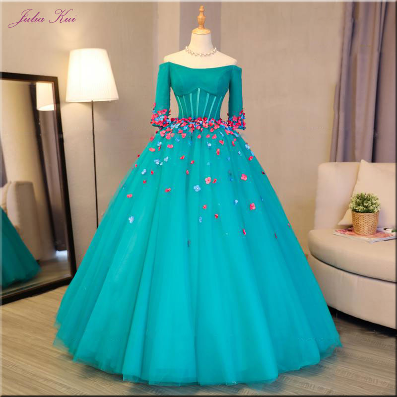 Julia Kui Ball Gown Quinceanera Dresses Off The Shoulder Lace Up Appliques 3D Flowers Half Sleeves Formal Dress Floor-Length