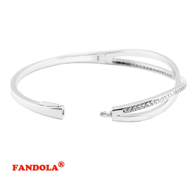90ba09f33 100% 925 Sterling Silver Entwined Charm Bangle Bracelets for Women ...