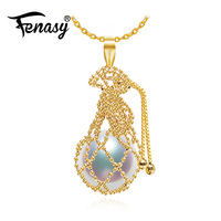 FENASY 18K Yellow Gold pendant 10 11mm big pearl Jewelry AU750 gold bag necklaces for lovers 18k gold necklaces for women gift