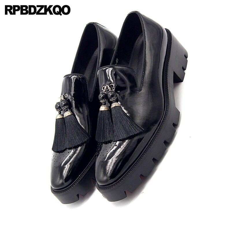 Gland Platforme Taille En Cuir Hommes Printemps Perle Creepers Large Noir À Chaussures Talons Richelieu Carré Pendant Bout Mocassins Nouveau Hauts Grande Chic qZ4xavA