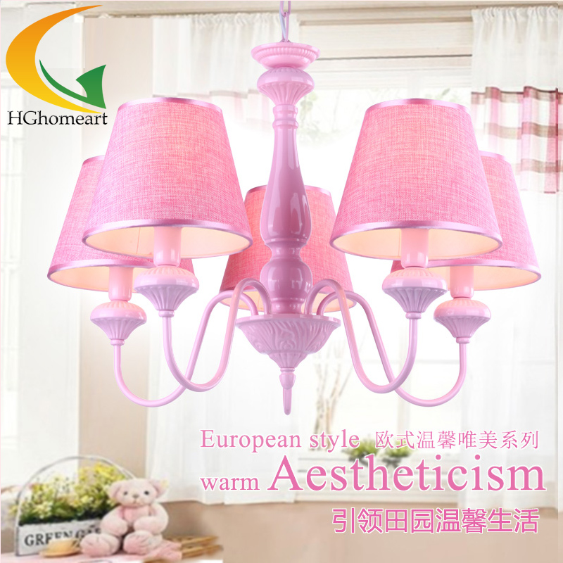 Children's book room chandelier bedroom chandelier child girl pink princess elegant chandelier led lamp