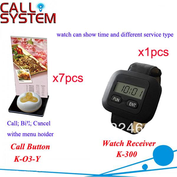 1 conjunto 7 pcs buzzer com o suporte do menu 1 pulso pager sem fio garçom sistema pager chamada para equipamentos de restaurante