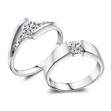Free shipping 2014 new high quality 925 sterling silver zircon crystal platinum plated lovers`couple rings 1pair/lot