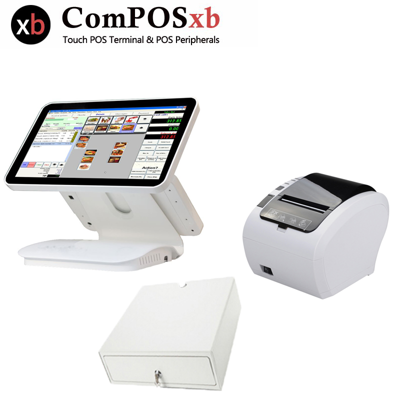 Dual screen touch screen pos system 15.6 inch TFT LCD cash register with Cash drawer and printer all in one pc pos device pure screen 15 inch cash register with printer cash drawer customer display and scanner all in one pc pos system for restaurant