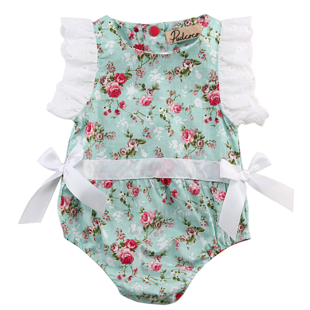 2016 Fashion Kids Baby Meisje Kleding Kant Bloemen Katoen Mouwloze - Babykleding