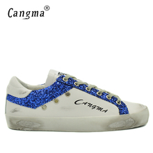 CANGMA Luxury Durable Mens Lace Up Casual Shoes White Genuine Leather Sneakers Flats Male Blue Glitter Man Handmade Bass Shoes