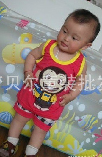 Free Shipping ! 2012 big mouth monkey vest child coverall.