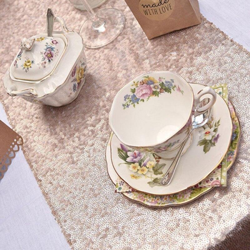 Романтическая 30x180 см блестящее розовое золото, с пайетками настольная дорожка для свадебной вечеринки Рождественская скатерть для стола украшения - Цвет: Шампанское