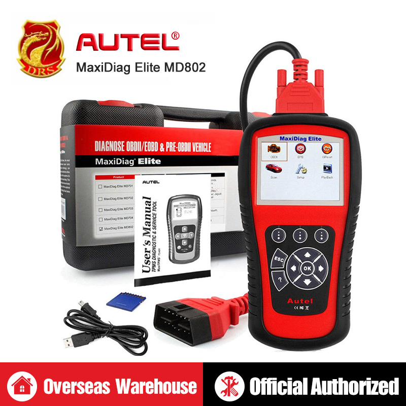 AUTEL MaxiDiag Elite MD802 Todo o Sistema de Diagnóstico Ferramenta Ferramentas OBDII Leitor de Código de Auto Scanner De Diagnóstico Automotivo OBD2 PK MD805