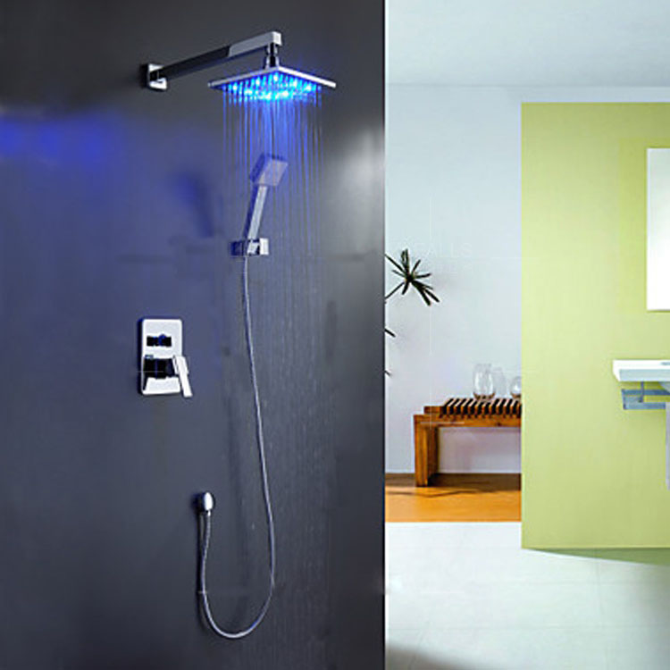 Contemporary Chrome Color Changing LED Shower Faucet with 12 inch Shower Head + Hand Shower купить в Москве 2019