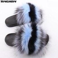 TINGHON Luxurious Women Real Fox Fur Slippers Fluffy Mixed Colors Fur Slides PU Sandals Fur Female Rubber House Flip Flops Shoes