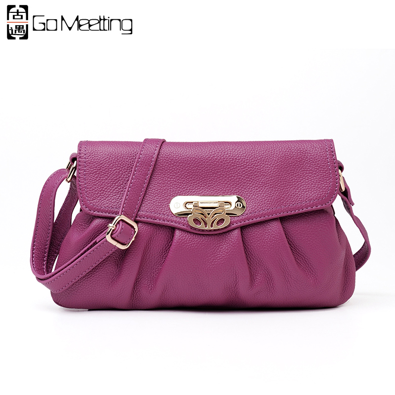 цены Go Meetting Genuine Leather Women Shoulder Bag High Quality Cow Leather Crossbody Bags Famous Brand Design Women Messenger Bag