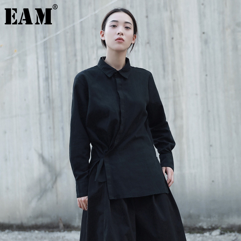 [EAM] 2019 Autumn Winter Two Wear Ways Irregular Cotton Casual Retro Long Sleeve Solid Color Black White Tie Shirt Women YA349
