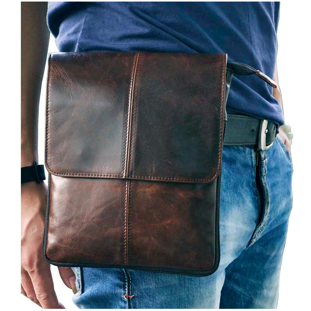 Real Leather Men Fashion Casual Small Slim Messenger Shoulder Crossbody Bag Design Waist Belt Pack Waist Phone Pouch 8713c