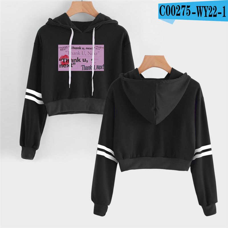 Ariana Grande Cropped Hoodie Girls High Waist American Singer Black Sweatshirts Female Sweatshirts Ladies Oversized Kpop Printed(China)