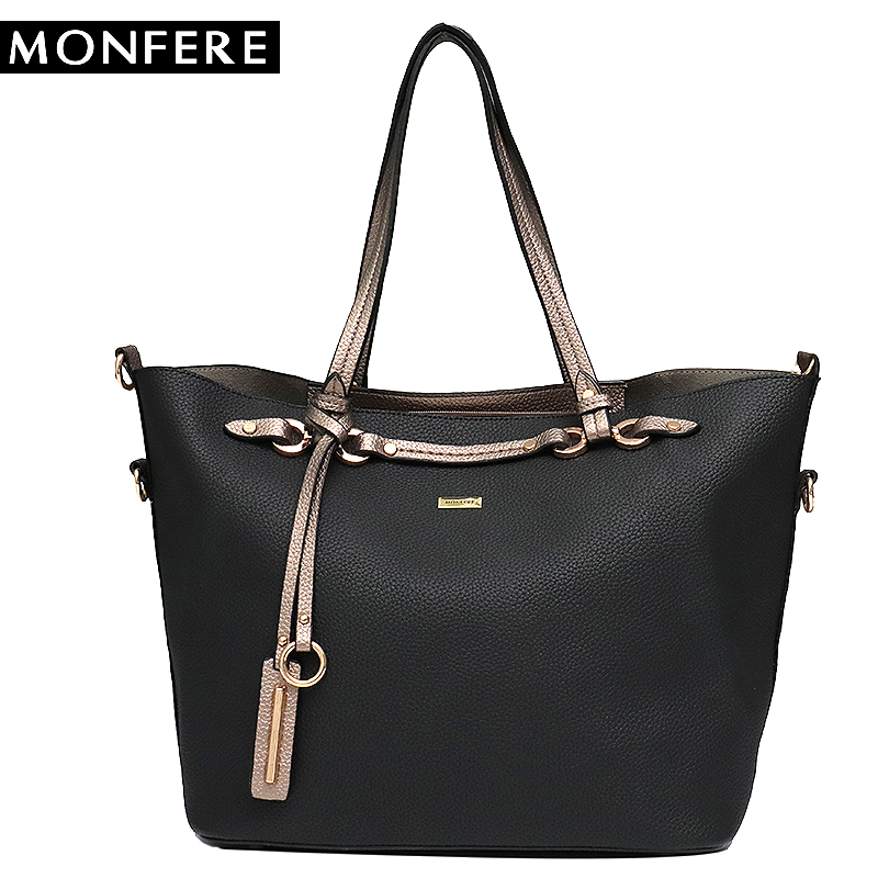 MONFERE New Luxury Handbags Women Bags Designer Large Shoulder Tote Messenger Bag Vegan Leather Baby Bag Set Female Trapeze Bags