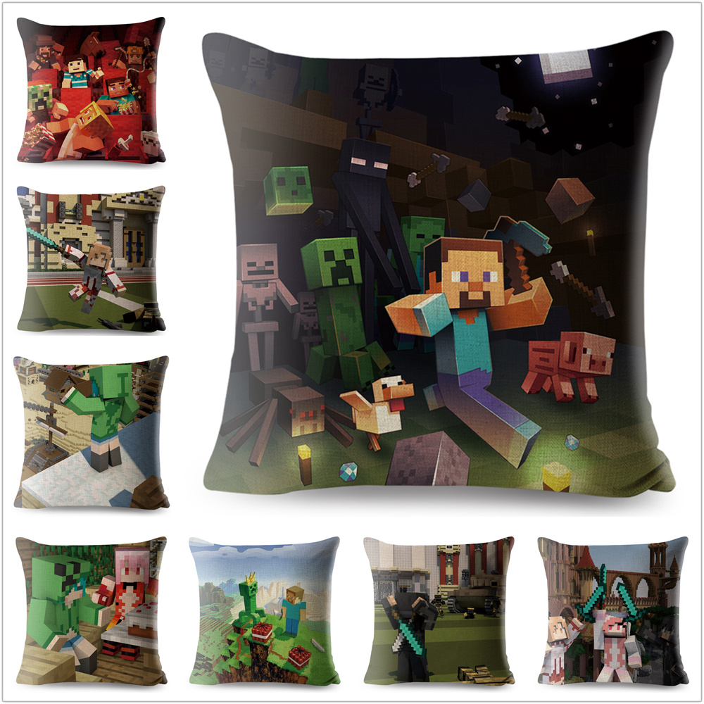 Printed Minecraft Linen Cotton Cushion Cover Cartoon Games Sofa Throw Pillow Case Decoration Pillowcase Sofa 45x45 cm