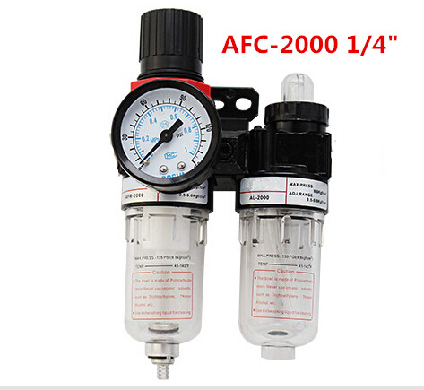 AFC-2000 1/4 BSPP Pneumatic Air Filter Regulator Lubricator Combinations Oil Separator High Quality In Stock 0 65 joint pipe bore dia afc 2000 pneumatic filter filtering regulator
