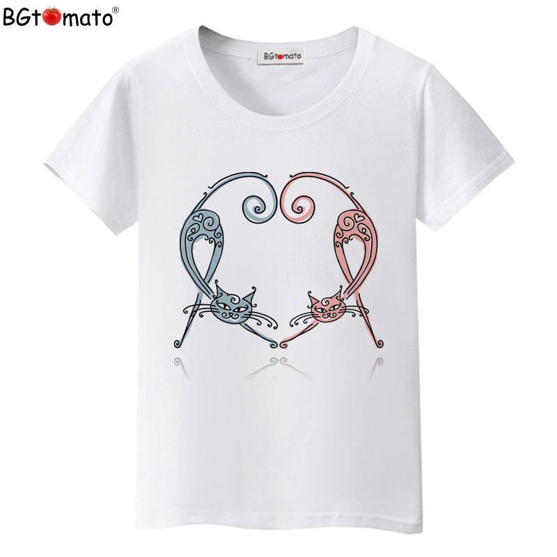 BGtomato T shirt Elegant cat beautiful women t-shirt Hot sale short sleeve cool tee shirt Good quality comfortable women tops