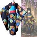 Hell Girl Jigoku Shoujo Ai Enma Mitsuganae Floral Kimono Cosplay Costume Set