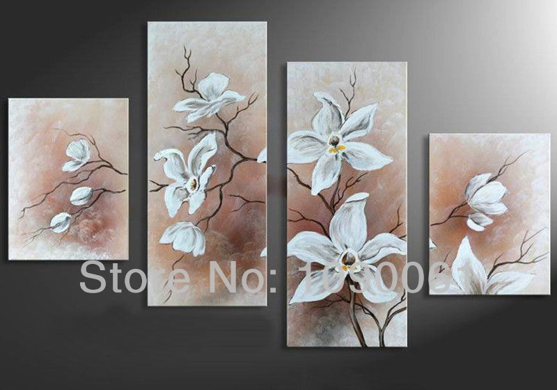 Hand draw large art white flowers canvas oil painting 4pcs modern hand draw large art white flowers canvas oil painting 4pcs modern abstract home wall decoration picture set with unframed in painting calligraphy from mightylinksfo