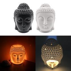 Ceramic Buddha Head Aromatic Oil Burner Ceramic Aromatherapy Lamp Candle Aroma Furnace Oil Lamp Home Decor Incense Burner