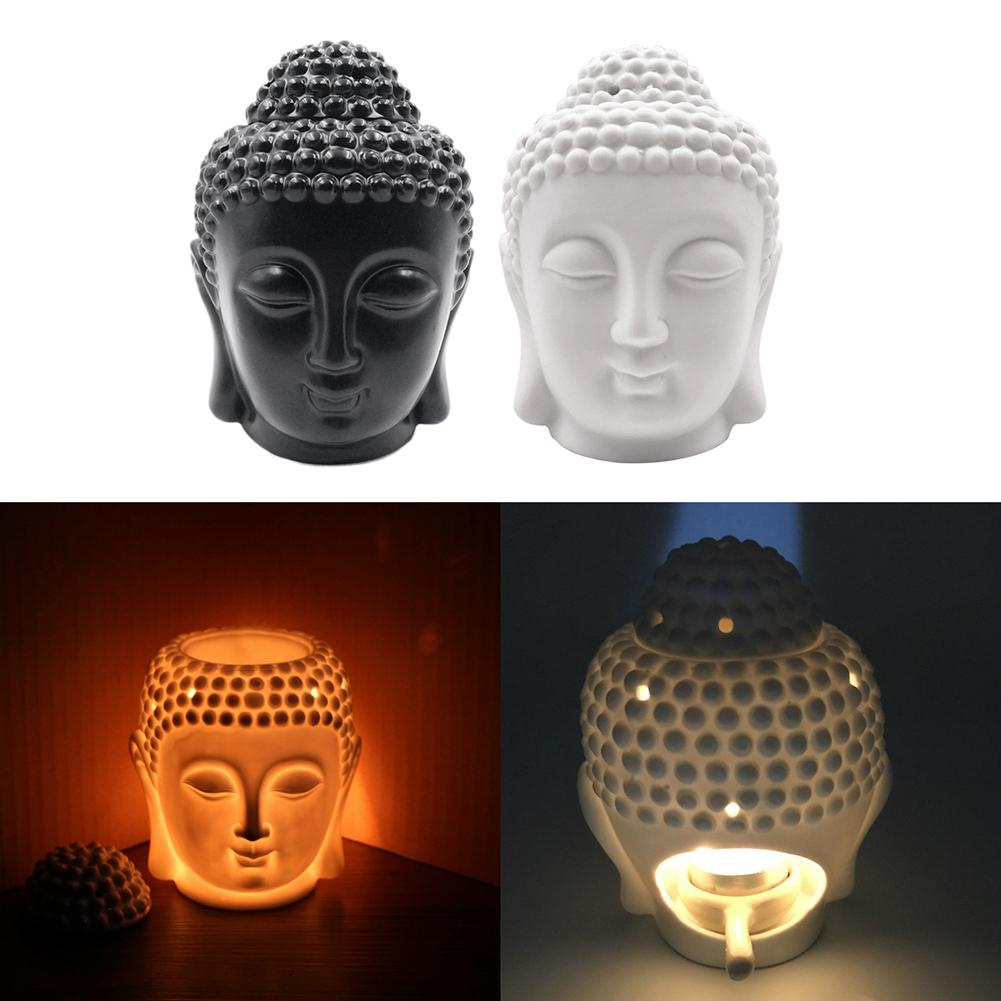 Keramik Buddha Kopf Aromatische Öl Brenner Keramik Aromatherapie-lampe Kerze Aroma Ofen Öl Lampe Wohnkultur Weihrauch Brenner