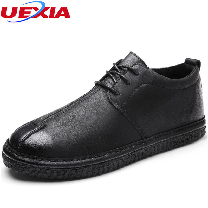 UEXIA Spring Autumn Fashion Men Shoes High-top leather Lace-Up Loafers Casual Youth Male Sneakers Black Outdoor Male Footwear valstone 2018 men leather casual shoes hip hop gold fashion sneakers silver microfiber high tops male vulcanized shoes sizes 46