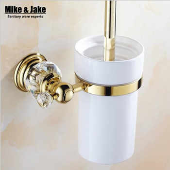 Luxury Golden crystal  toilet brush holder with Ceramic cup/ household products bath brush decoration bathroom accessories - DISCOUNT ITEM  10% OFF All Category
