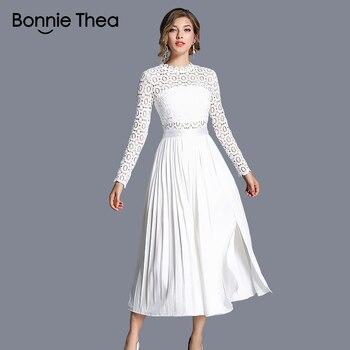 cbde419230ce Femenino Vestido Blanco Elegante Otoño Mujeres Encaje Largo 8wOP0Xnk