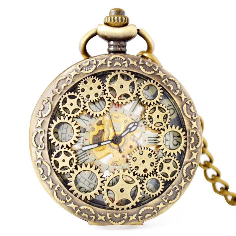 Unisex Gear Wheel Hollow Mechanical Roman Numbers Pocket Watch Fob Watches Men Women Gift With Chain Watch Elegant Clock