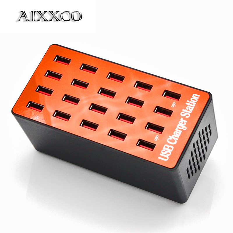 AIXXCO 20-Port 18A 90W Multi USB Charger HUB LED USB Charging Station Dock Universal Mobil