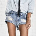 Vanlo Ropa Vintage Rasgado Agujero Franja Azul Denim Shorts Women Casual Pocket Jeans Shorts 2016 Summer Girl Corto Caliente