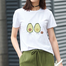 Showtly Koreanische Kawaii Cartoon Avocado Vegan Kurzarm T-shirt Frauen Vogue Kleine Frische Casual Avocado Grafik Kleidung Tops(China)