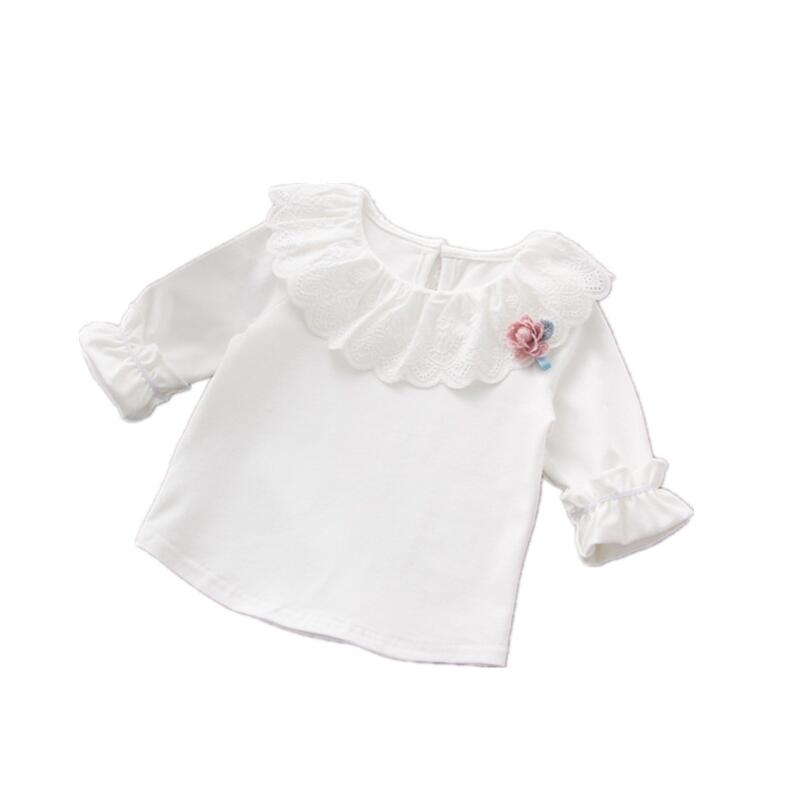 1-3T Cute Baby Girl Undershirt Outwear White Cotton Tshirt Spring