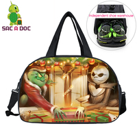 Ghost Rider Jack The Nightmare Before Christmas Crossover Travel Bag Large Capacity Waterproof Duffle Bag Travel Shoulder Bags