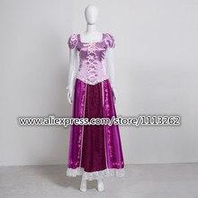 La princesa rapunzel fancy dress adultos disfraces para halloween/fiesta tangled disfraces cosplay para las mujeres carnaval de encargo cualquier tamaño