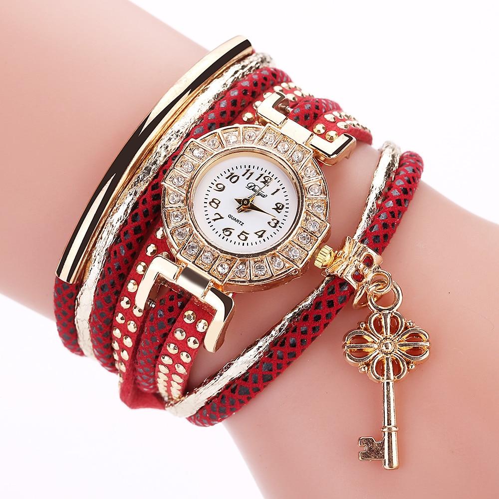 Duoya Clock Women Vintage Watch Women Luxury Brand Key With Leather Charm Bracelet Wristwatch With Rhinestones Relogio Feminino