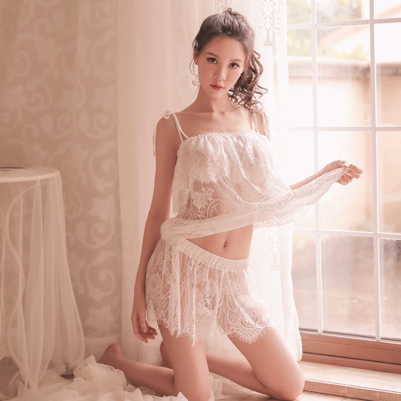 Yhotmeng sexy lingerie female double perspective comfortable tulle straps strap pajamas set sleepwear in Pajama Sets from Underwear Sleepwears