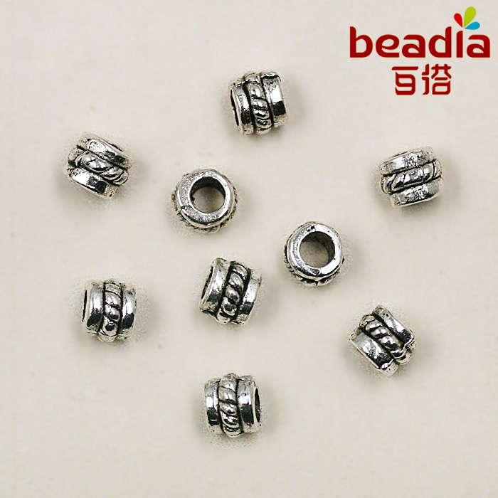 50pcs Silver Cute Cylinder Spacer Metal Beads for Jewelry Making  O3