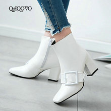 Spring Autumn Women Shoes Fashion Square Toe Square High Heel Ankle Boots Zipper
