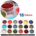 18 Colors/set Mix Nail Glitter Dust Powder For Nail GEL Acrylic Powder Nail Decoration Tips DIY Nail Beauty Rhinestone